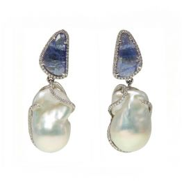 Tanzanite, Pearl and Diamond Earrings | Ri Noor Jewelry
