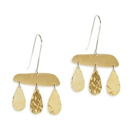Three Tier Brass Earrings