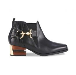 Tick-Tock Caviar Black Nappa Leather Ankle Boots