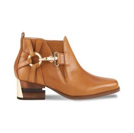 Tick-Tock Suned Brown Box Cow Leather Ankle Boots