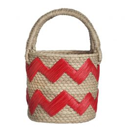 Red Raffia Zigzag Woven Straw Top Handle