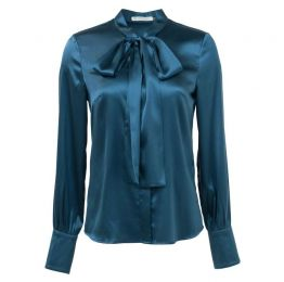 Topaz Opaz Blue Pussy Bow Stretch Silk Shirt