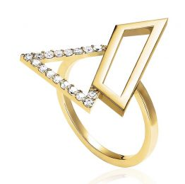 Asymmetric Triangle Ring in 14K Yelow Gold | OSYLIA London