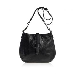 Tulip Crossbody Bag Black Distressed Leather