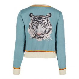 Vera - Mineral Blue Embroidered Arctic Tiger Cardigan - Full Length Sleeve