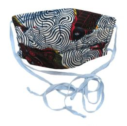 Vintage Tribal Print with Blue Ties Face Mask