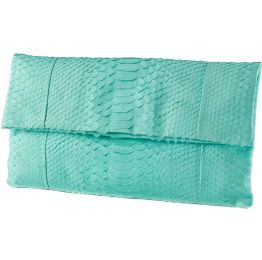 Katja Tamara Cyan (Aqua)  Python Leather Clutch
