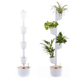 White 4 Pot Self Watering Vertical Garden | Citysens