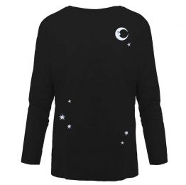 Midnight Sky Embroidered Dropped Shoulder T-Shirt