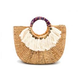 Woven Half Round Medium Handbag With Tassel