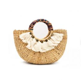 Woven Half Round Small Handbag With Tassel