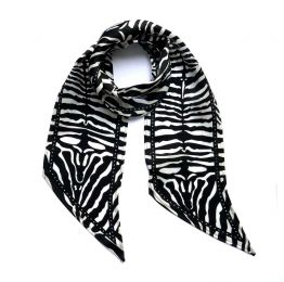 Zebra Silk Neck Scarf Black and White