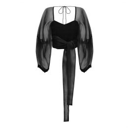 Zof Black Silk Organza Wrap Top