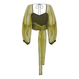 Zof Green Silk Organza Wrap Top