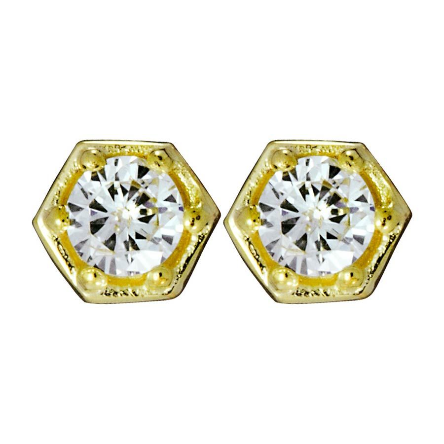 caf3e716a Hexagon Gold Stud Earrings with Diamonds Zoe & Morgan Fine Jewellery