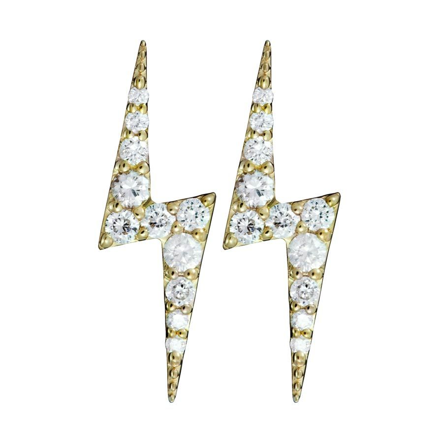 e9f63138b Zap Gold Stud Earrings with Diamonds Zoe & Morgan Fine Jewellery at ...