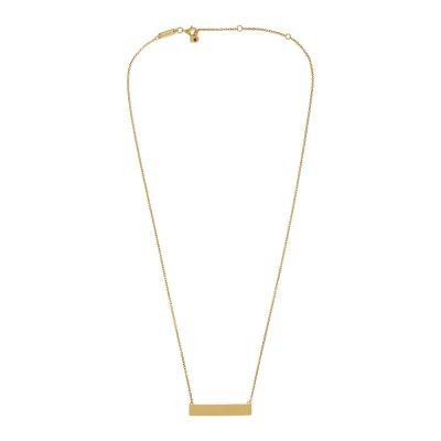 14k Plated Gold ID Necklace with Garnet   AKALiS