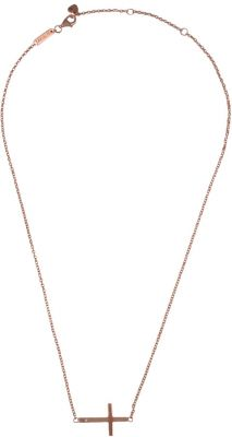 AKALiS Sideways Cross Rose Gold Necklace with Diamond