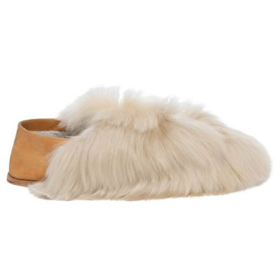 Almond Satin Express Fur Slippers