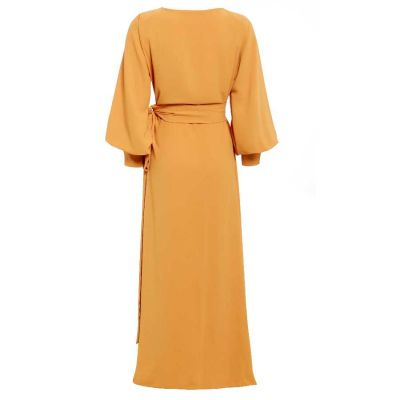 AMBER V neck wrap maxi dress with side split