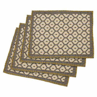 "Artisan Hand Loomed Place Mat - Gray with Yellow Stitching - 14"" x 19""- Set of 4"