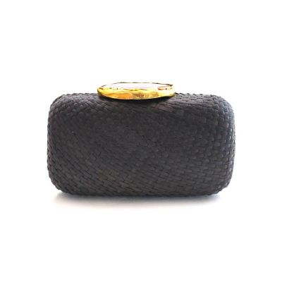 KAYU Black Ava Straw Clutch With Purple Agate Clasp