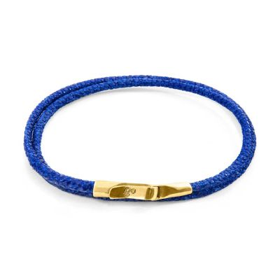Azure Blue Liverpool 9ct Yellow Gold and Stingray Leather Bracelet | ANCHOR AND CREW