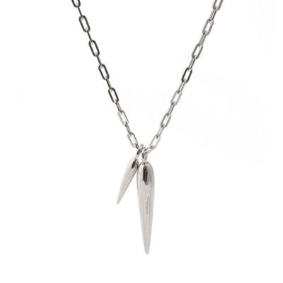Beam Charm Elongated Cable Chain Necklace in Silver | Rahya Jewelrey Design