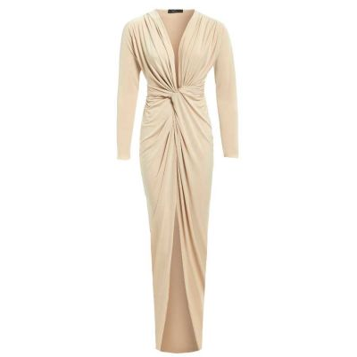 BIANCA Stone Plunge front knot maxi dress