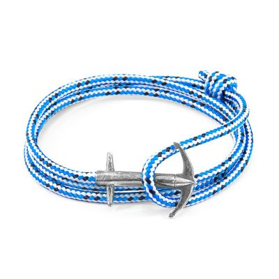 Blue Dash Admiral Anchor Silver and Rope Bracelet