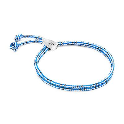 Blue Dash Pembroke Silver and Rope Bracelet | ANDREW AND CREW