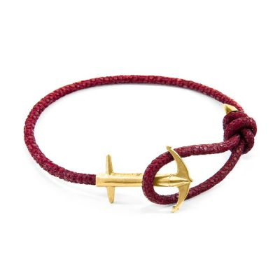 Racing Red Admiral Anchor 9ct Yellow Gold and Stingray Leather Bracelet | ANCHOR AND CREW