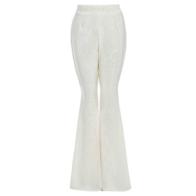 CALLIE High waisted flared ivory trousers