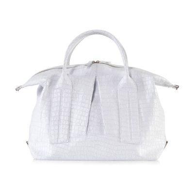 Cast Away Convertible Satchel in White Croco Embossed Leather