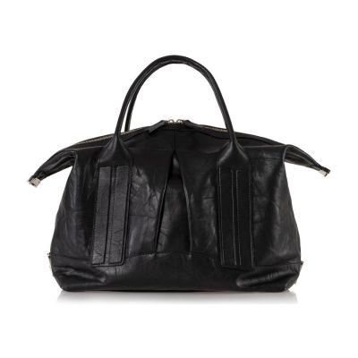 Cast Away Convertible Satchel in Black Distressed Leather