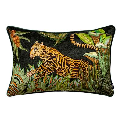 Cheetah Kings Forest Delta Velvet Cushion Cover with Piping