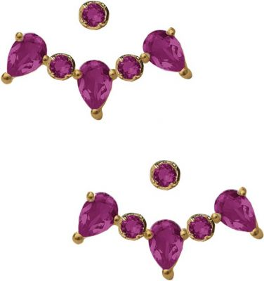 Eddera Clara Pink Tourmaline Ear Jacket Earrings