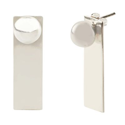 POTC Jewellery Contemporary Silver Tone And Ball Stud Earrings