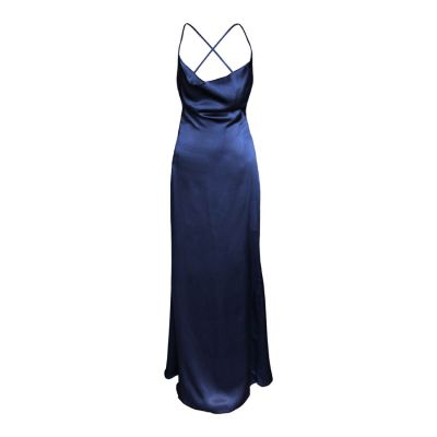 Cowl Drape Backless Gown - Navy