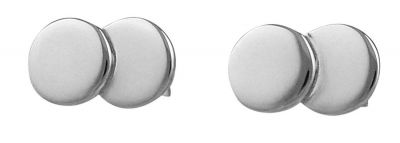 Double Disc Silver Stud Earrings