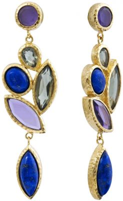 Isharya Nile Lymph Long Cluster Earrings Blue Lapis