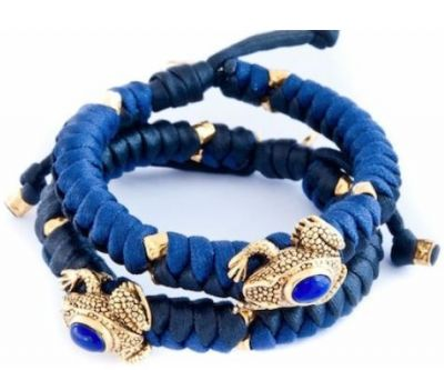 Kriss and Jules Gold Plated Frog with Lapis Lazuli Mokuba Bracelet