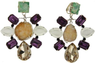 VOLHA Jewelry Gold Plated Orange Druzy Quartz and Crystals Clip Earrings