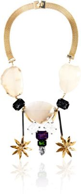 Volha Gold Plated Choker Style Agate and Crystals Necklace