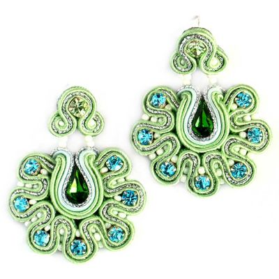 Green Earrings with Blue Crystals | Olga Sergeychuk