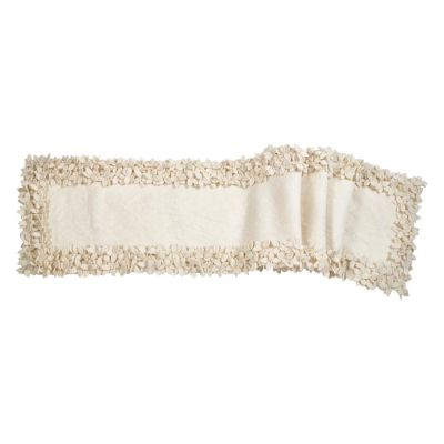 """Hand Felted Wool Floral Border Table Runner in Cream - 16x90"""""""