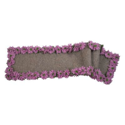 Hand Felted Wool Floral Border Table Runner - Lilac Flowers on Grey - 16x90""