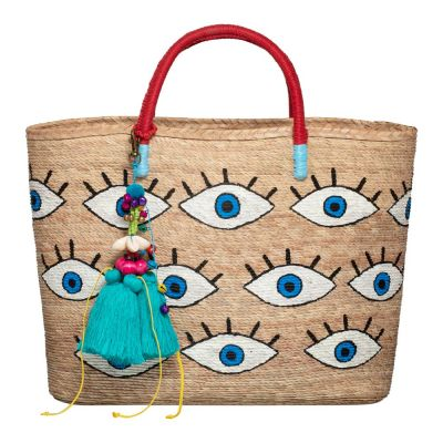 Hand Painted All Over Evil Eye Woven Straw Tote