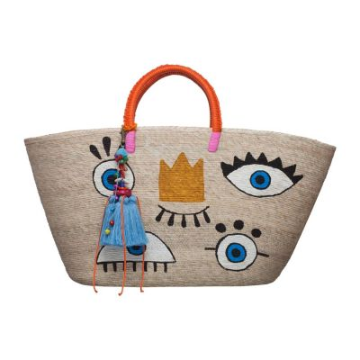 Hand Painted Evil Eye Crown Straw Tote