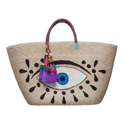 Hand Painted Evil Eye Woven Straw Tote